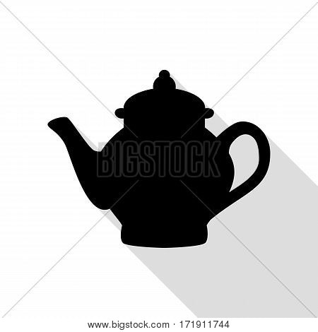 Tea maker sign. Black icon with flat style shadow path.