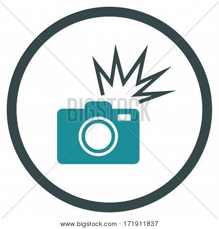 Camera Flash rounded icon. Vector illustration style is flat iconic bicolor symbol inside circle, soft blue colors, white background.