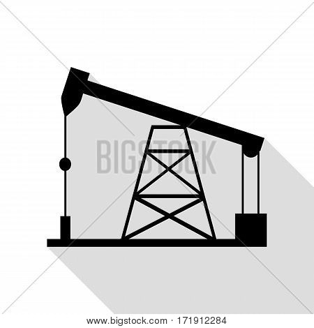 Oil drilling rig sign. Black icon with flat style shadow path.