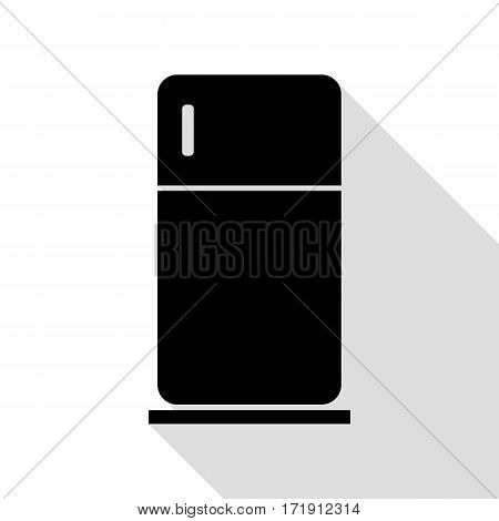 Refrigerator sign illustration. Black icon with flat style shadow path.