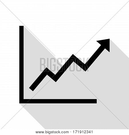 Growing bars graphic sign. Black icon with flat style shadow path.