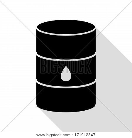 Oil barrel sign. Black icon with flat style shadow path.