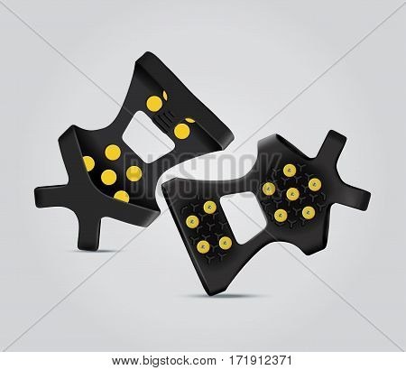 Vector illustration of shoe ice snow grips. Realistic illustration of snow traction cleats.