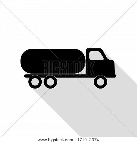 Car transports sign. Black icon with flat style shadow path.