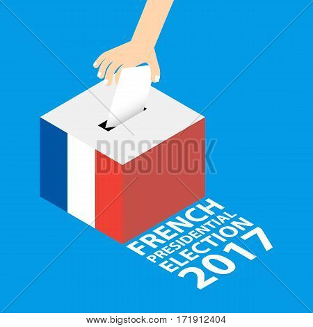 French Presidential Election 2017 Vector Illustration Flat Style - Hand Putting Voting Paper in the Ballot Box