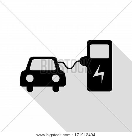 Electric car battery charging sign. Black icon with flat style shadow path.