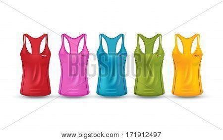 Vector illustration of fitness tank top for women. Realistic illustration sport wear.