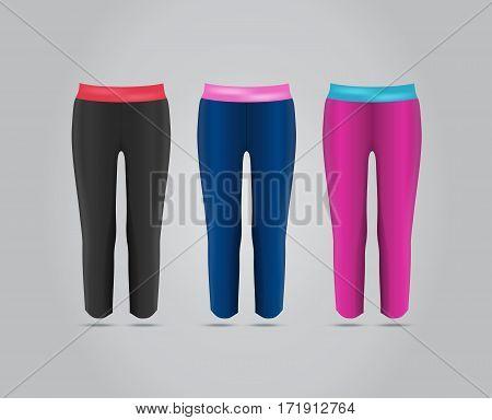 Vector illustration of fitness leggings for women. Realistic illustration of pants for summer sports