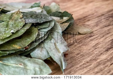 Batch of coca leaves on wooden table. Used in countries like Peru and Bolivia to combat altitude sickness.