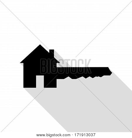 Home Key sign. Black icon with flat style shadow path.