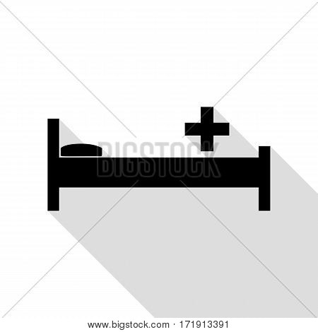Hospital sign illustration. Black icon with flat style shadow path.