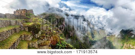 Panorama of Machu Picchu, lost city of the Incas, designated Peruvian History
