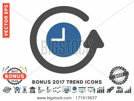 Cobalt And Gray Restore Clock pictograph with bonus 2017 trend pictograms. Vector illustration style is flat iconic bicolor symbols white background.