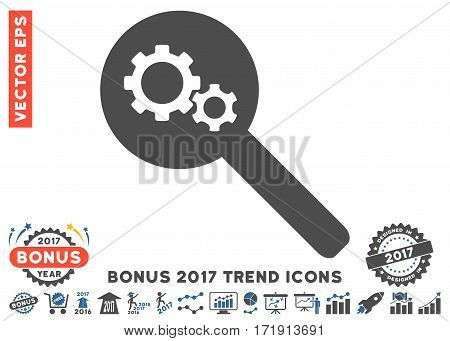 Cobalt And Gray Search Gears Tool pictograph with bonus 2017 year trend pictures. Vector illustration style is flat iconic bicolor symbols white background.