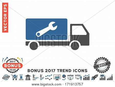 Cobalt And Gray Service Car icon with bonus 2017 trend clip art. Vector illustration style is flat iconic bicolor symbols white background.