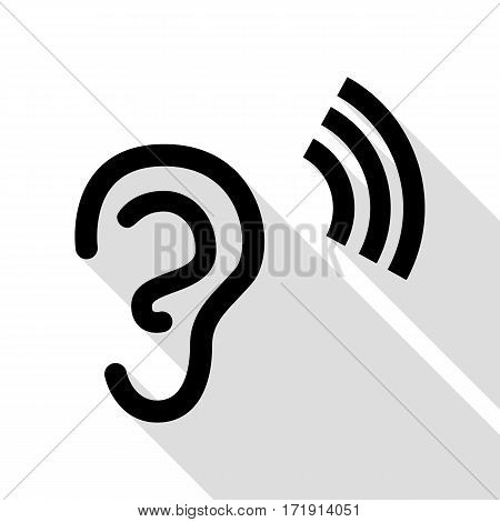 Human ear sign. Black icon with flat style shadow path.