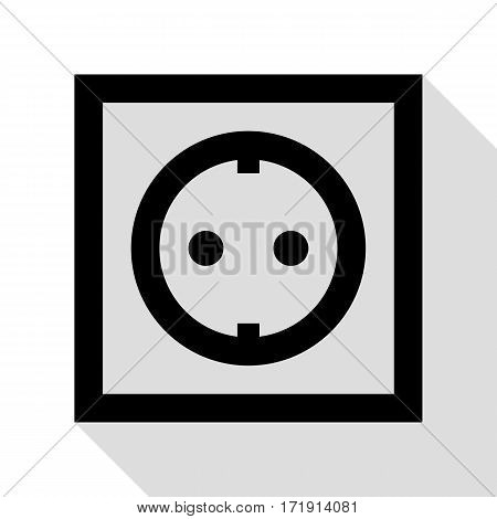 Electrical socket sign. Black icon with flat style shadow path.