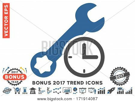 Cobalt And Gray Service Time pictograph with bonus 2017 trend pictograph collection. Vector illustration style is flat iconic bicolor symbols white background.