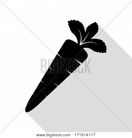 Carrot sign illustration. Black icon with flat style shadow path.