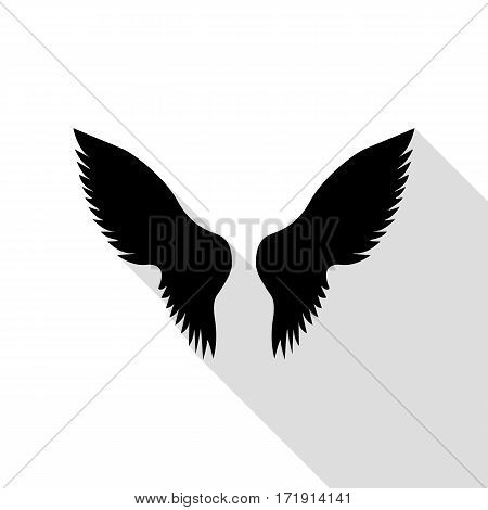 Wings sign illustration. Black icon with flat style shadow path.
