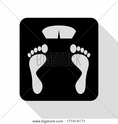 Bathroom scale sign. Black icon with flat style shadow path.