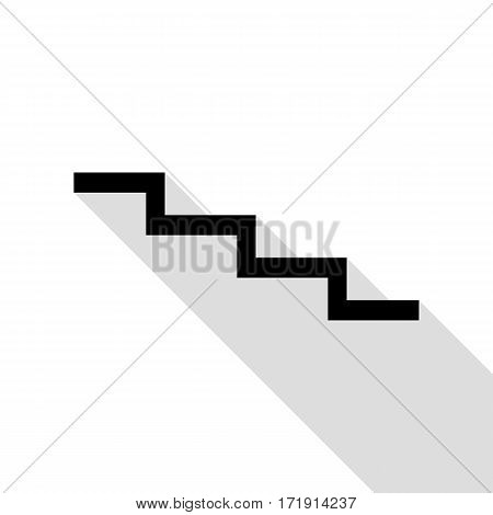 Stair down sign. Black icon with flat style shadow path.