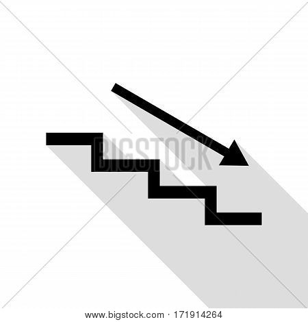Stair down with arrow. Black icon with flat style shadow path.