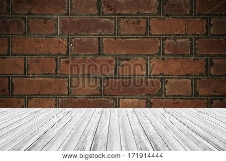 Red Brick Wall Texture Surface Vintage Style With Wood Terrace