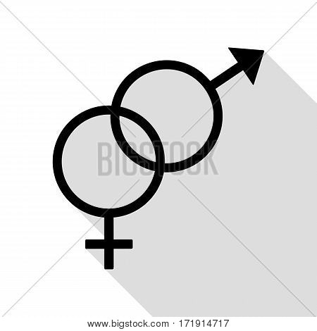 Sex symbol sign. Black icon with flat style shadow path.