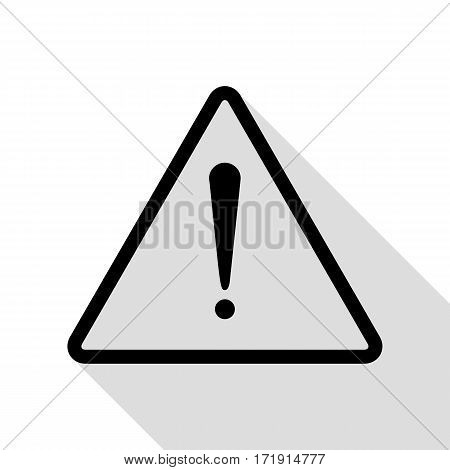 Exclamation danger sign. Flat style. Black icon with flat style shadow path.