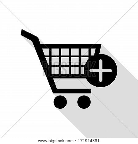 Shopping Cart with add Mark sign. Black icon with flat style shadow path.