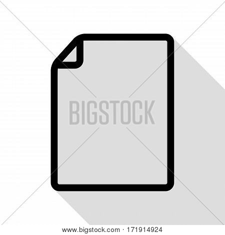 Vertical document sign illustration. Black icon with flat style shadow path.