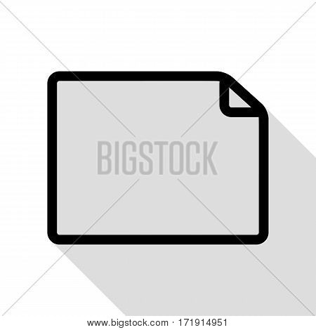 Horisontal document sign illustration. Black icon with flat style shadow path.