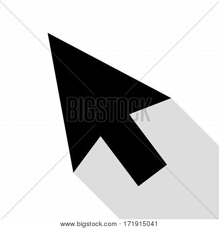 Arrow sign illustration. Black icon with flat style shadow path.