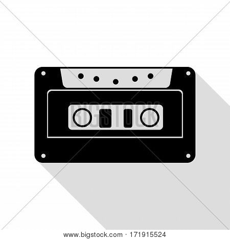 Cassette icon, audio tape sign. Black icon with flat style shadow path.