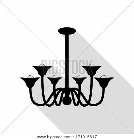 Chandelier simple sign. Black icon with flat style shadow path.