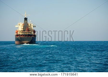 Large oil tanker or transport ship on the Mediterranean Sea