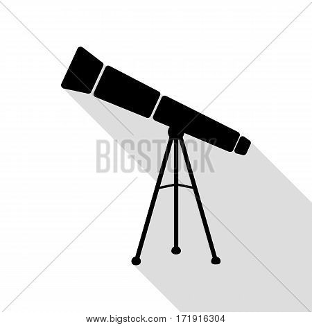 Telescope simple sign. Black icon with flat style shadow path.
