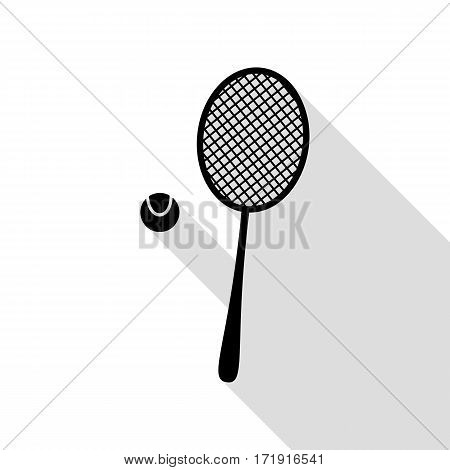 Tennis racquet sign. Black icon with flat style shadow path.
