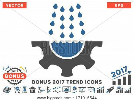 Cobalt And Gray Water Shower Service Gear pictogram with bonus 2017 trend pictograph collection. Vector illustration style is flat iconic bicolor symbols white background.
