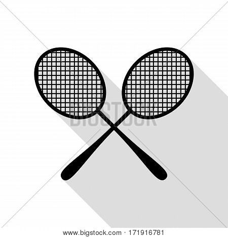Tennis racquets sign. Black icon with flat style shadow path.