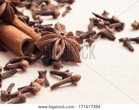 Spices Cinnamon Sticks Anise Stars And Cloves