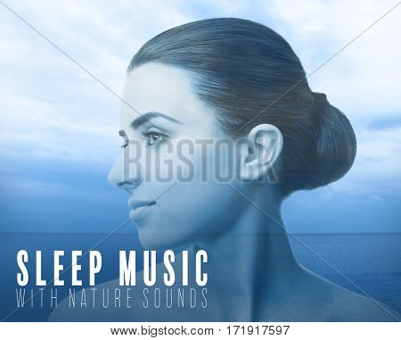 Concept of music for sleep and meditation. Double exposure of young woman and seascape background