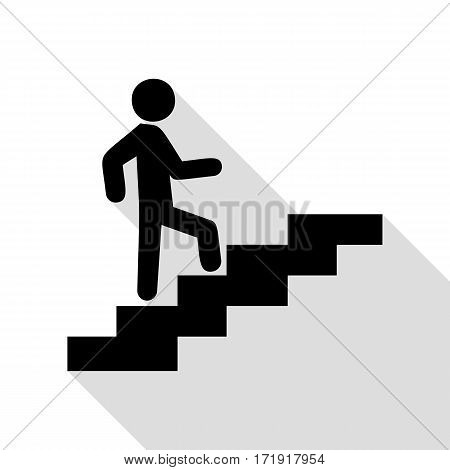 Man on Stairs going up. Black icon with flat style shadow path.
