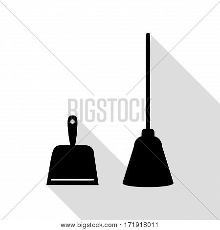 Dustpan vector sign. Scoop for cleaning garbage housework dustpan equipment. Black icon with flat style shadow path.