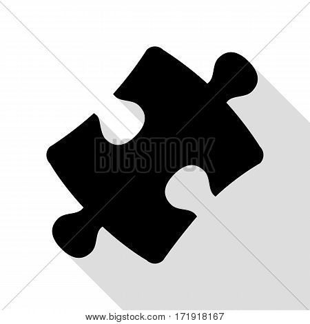 Puzzle piece sign. Black icon with flat style shadow path.