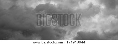 Cloudy sky panorama. Thunderclouds over horizon cloudscape storm.