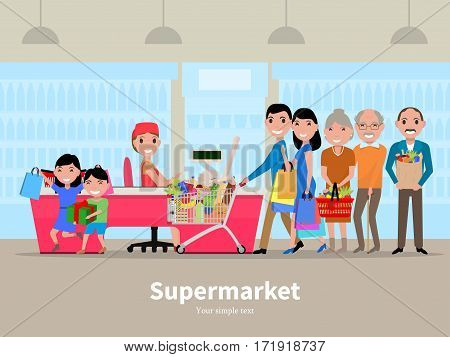 Vector illustration cartoon people doing shopping in a supermarket. Customers in department store paying at cash register. Flat style. Purchaser buys food products. Family is shopping at market.