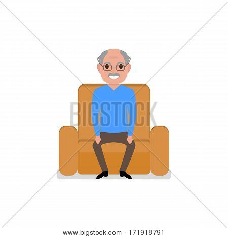 Vector illustration cartoon grandfather sitting in a chair. Isolated white background. Old man in an armchair. Flat style. Elderly pensioner on the big chair.