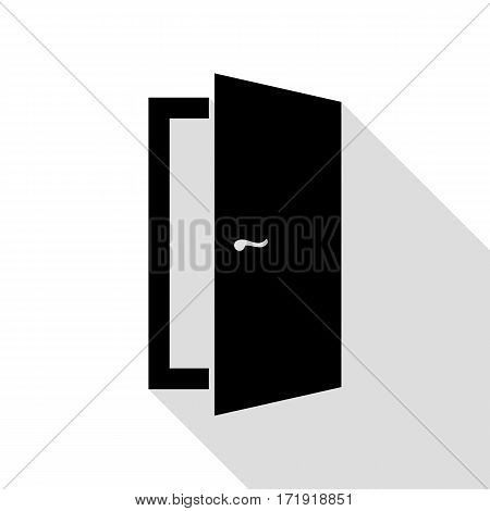 Door sign illustration. Black icon with flat style shadow path.